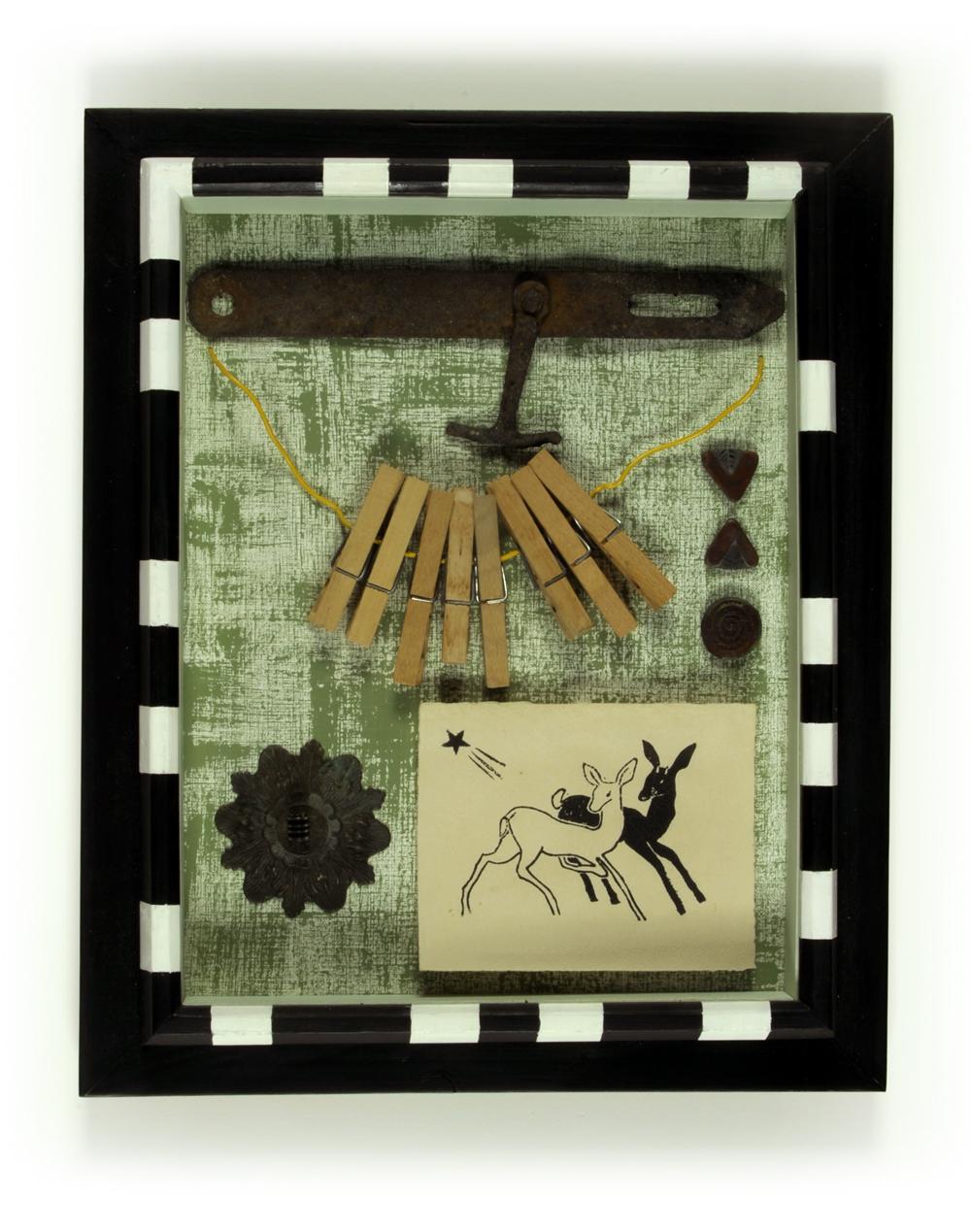 Remnant-#45,-2-deer,-clothespins